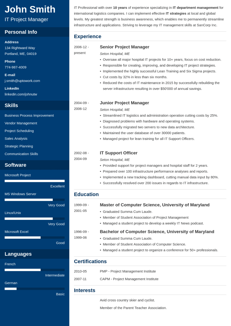 Professional Resume Template Cascade
