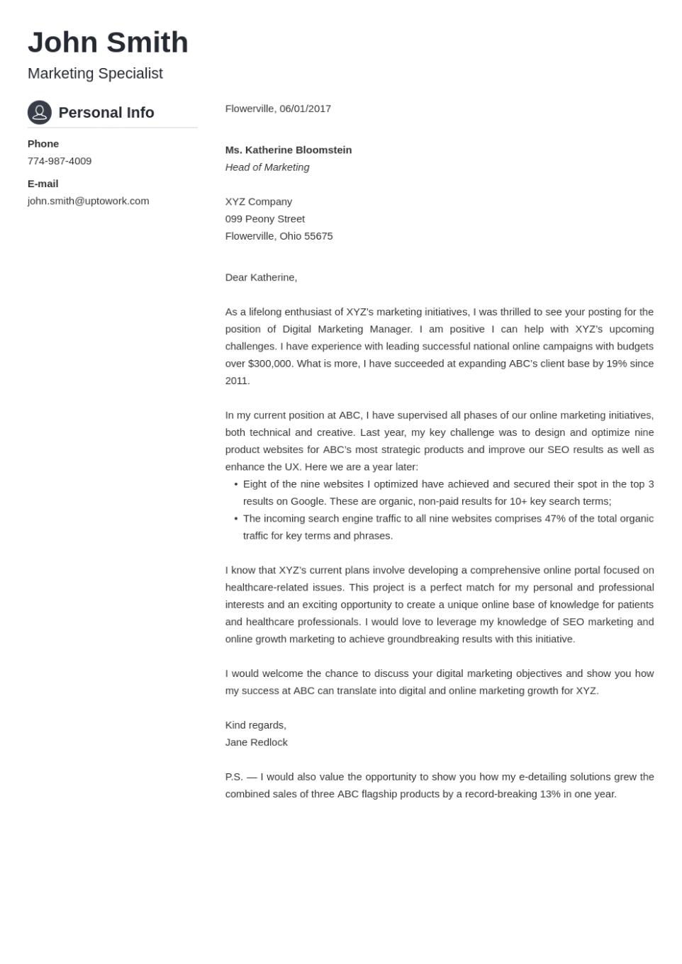 Professional cover letter Template Crisp