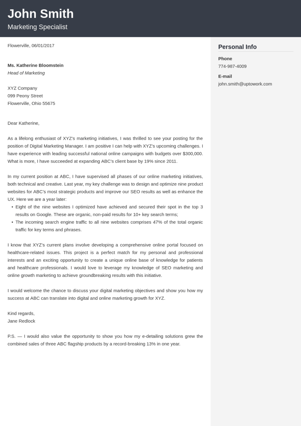 Professional cover letter Template Cubic