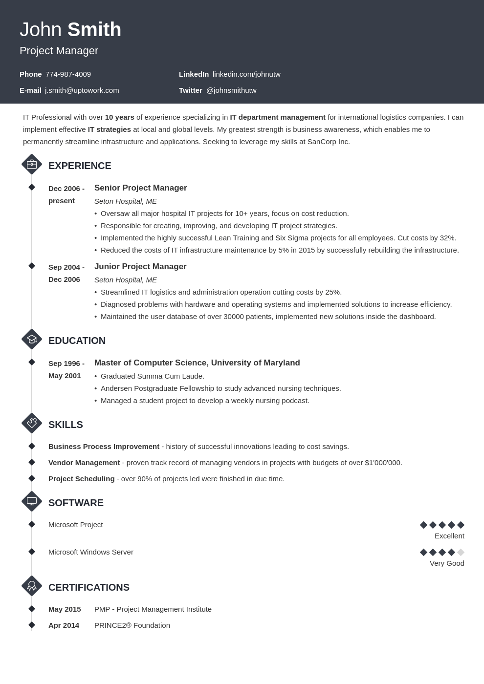 Professional Resume Template Diamond