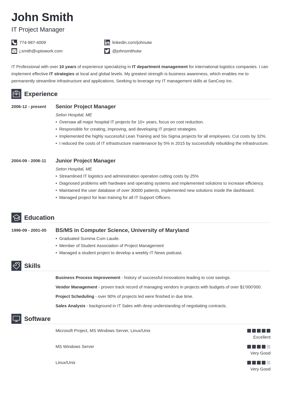 Awesome Sample Resume Template