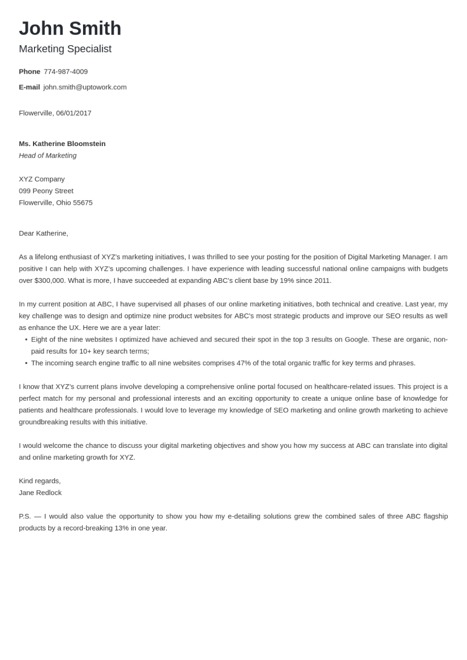 Professional cover letter Template Minimo