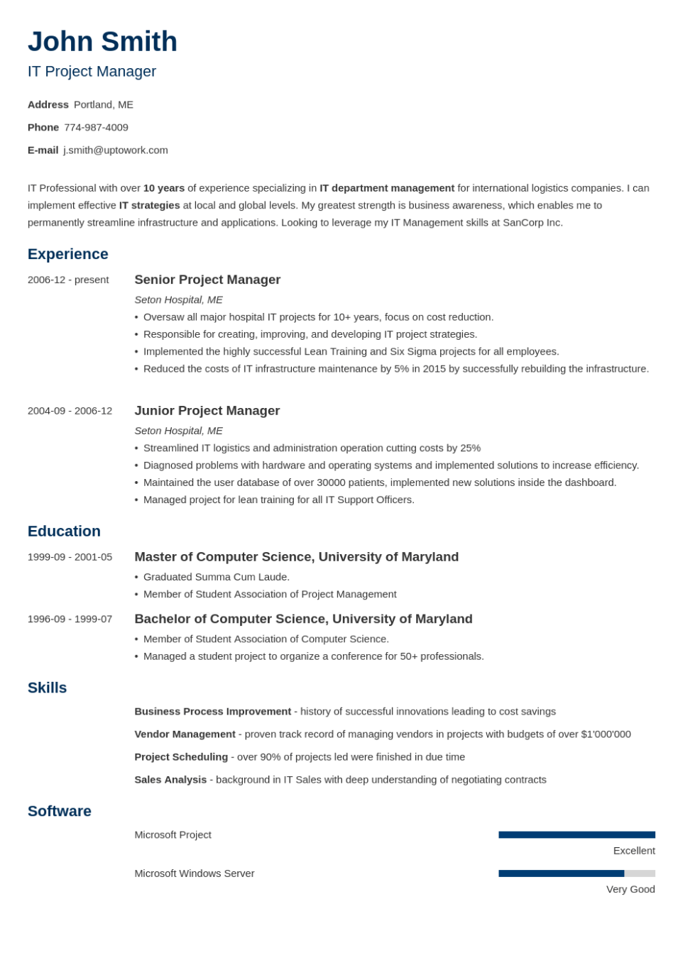 Professional Resume Template Minimo