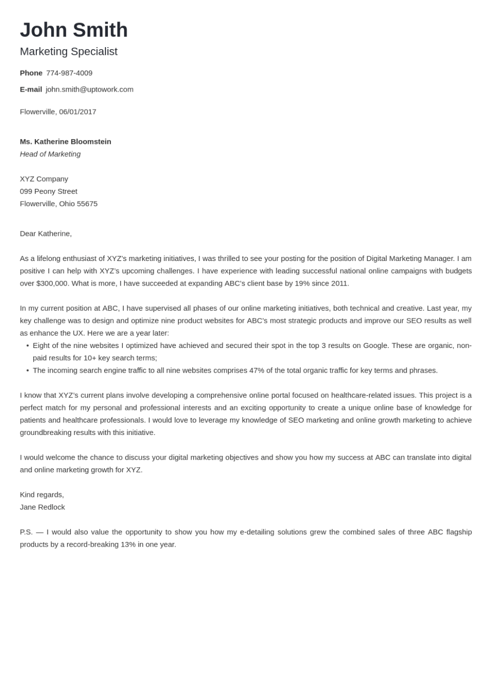 Professional cover letter Template Nanica