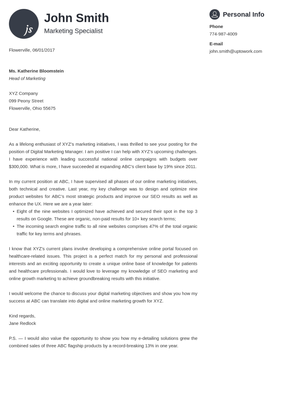 Professional cover letter Template Primo