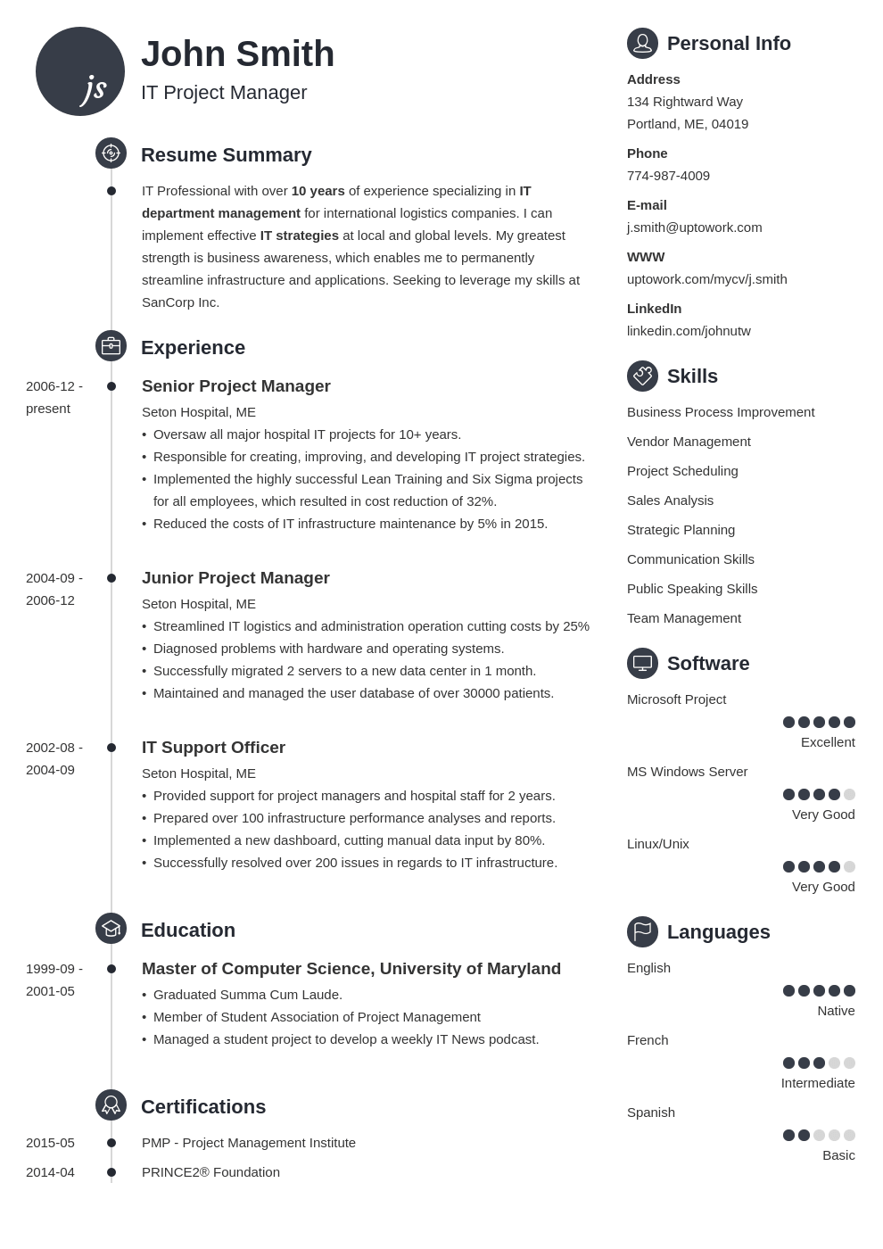 it resume template