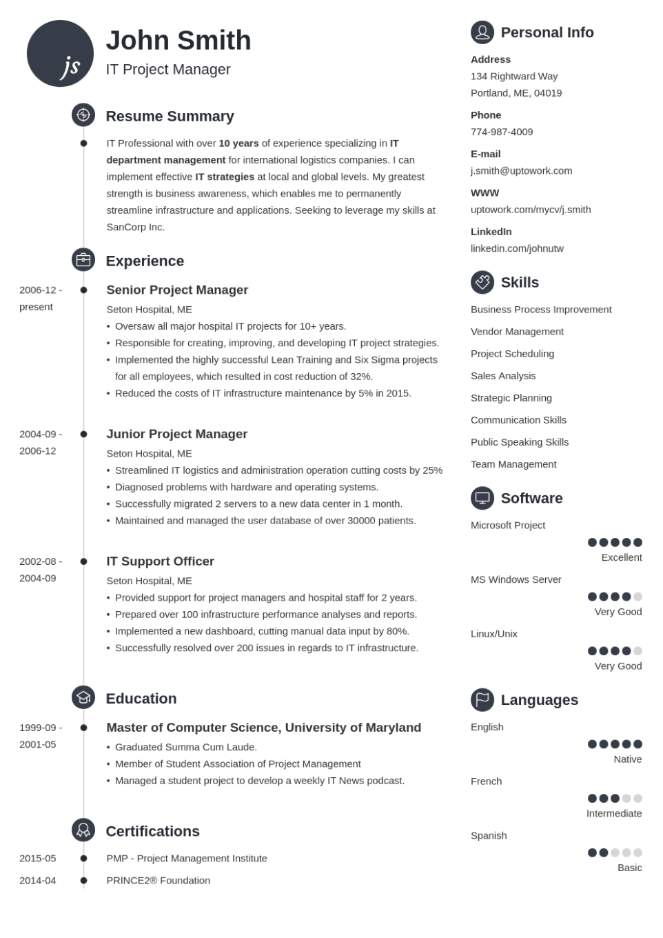 Professional Resume Template Primo
