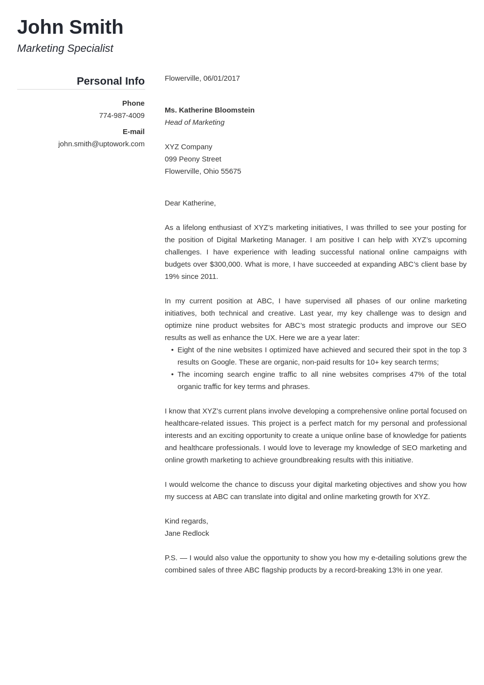 Professional Cover Letter Template Simple