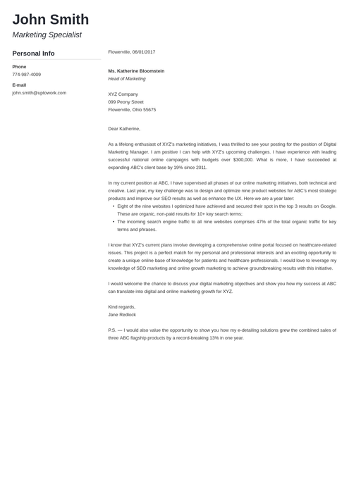 cover letter template modern - Create A Cover Letter Template