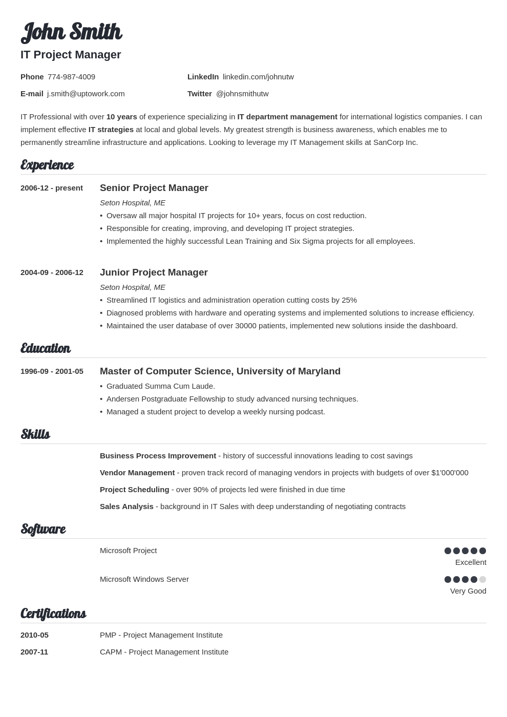 professional resume template valera - Template For A Resume